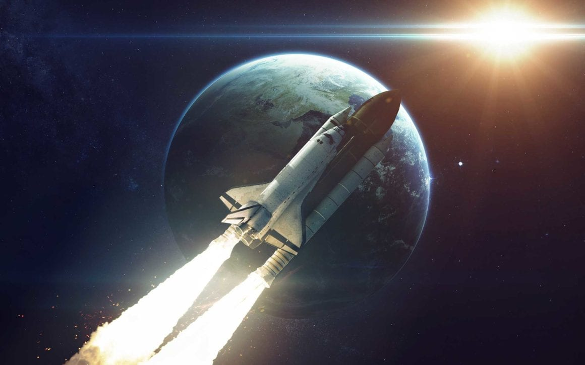 Visualisation of a shuttle lifting off, with Earth behind it •Earnest Ideas and Insights: Applying 10x thinking for better B2B marketing plans