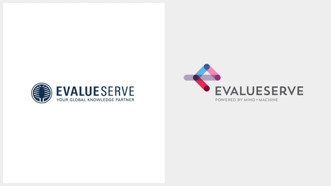 Evalueserve logo before and after rebrand designed by Earnest • Worldwide rebrand